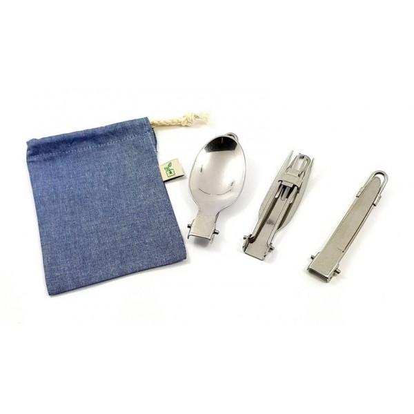 Kit Porta Talheres Slim 100% Algodão + Talheres de Inox