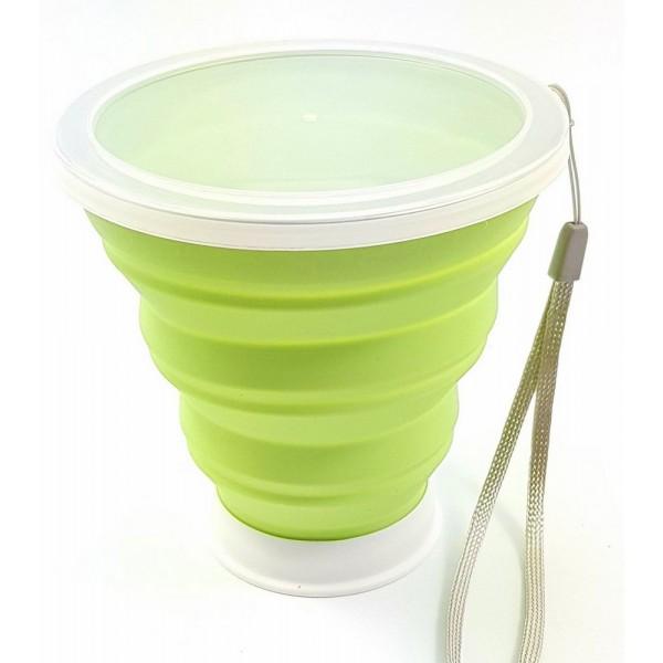 Copo retrátil de silicone verde