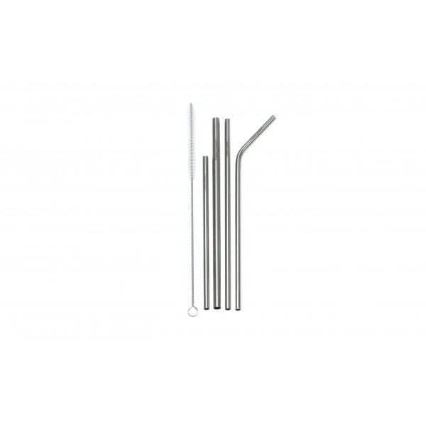 Kit 4 Canudos Mix de Inox Beegreen - Ø0,6 cm x 16 cm