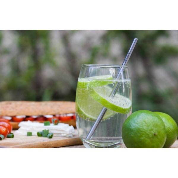 Kit Canudo Drink Reto e Escova Higiênica de Inox Beegreen - Ø0,8 cm X 20 cm