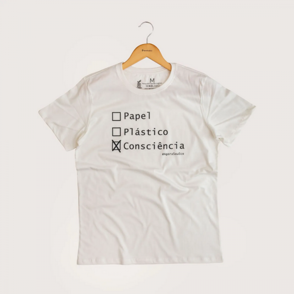 Camiseta Consciência - 100% Algodão Orgânico Off White Agora Sou Eco