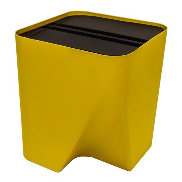 Lixeira empilhável para reciclagem amarela