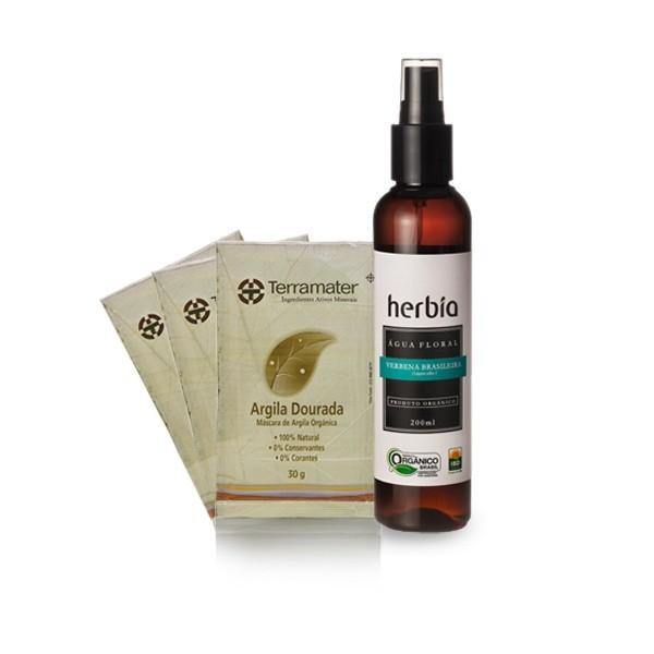 Argila dourada + água floral antioxidante