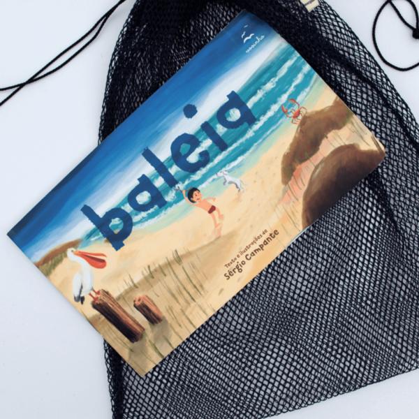 """Kit livro Baleia e saquinho """"Fui uma rede de pesca"""""""