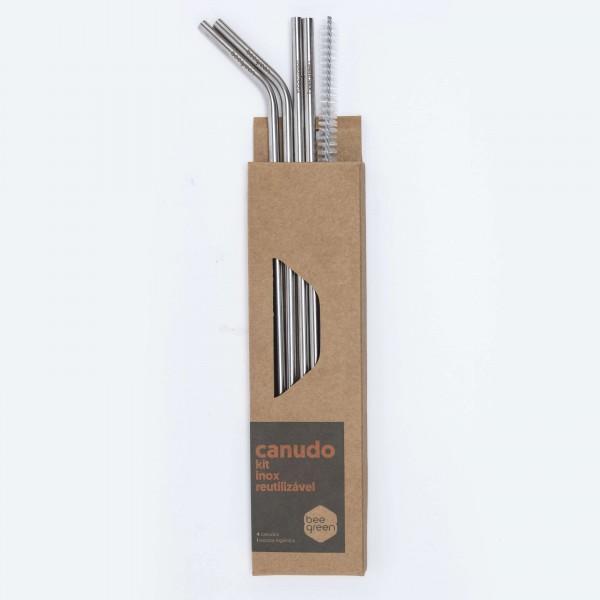 Kit Misto com 4 Canudos de Inox (2 Retos; 2 Curvados) - Ø0,6cm x 20cm