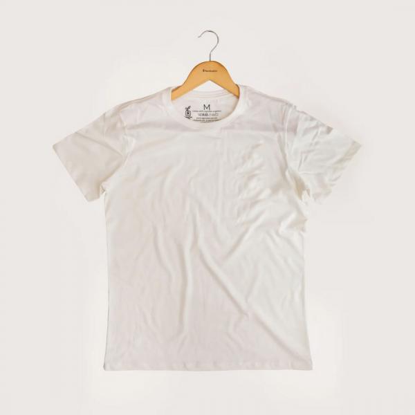 Camiseta Sem Estampa - 100% Algodão Orgânico Off White Agora Sou Eco