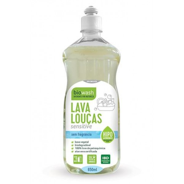 Lava-louças sensitive 650ml Biowash