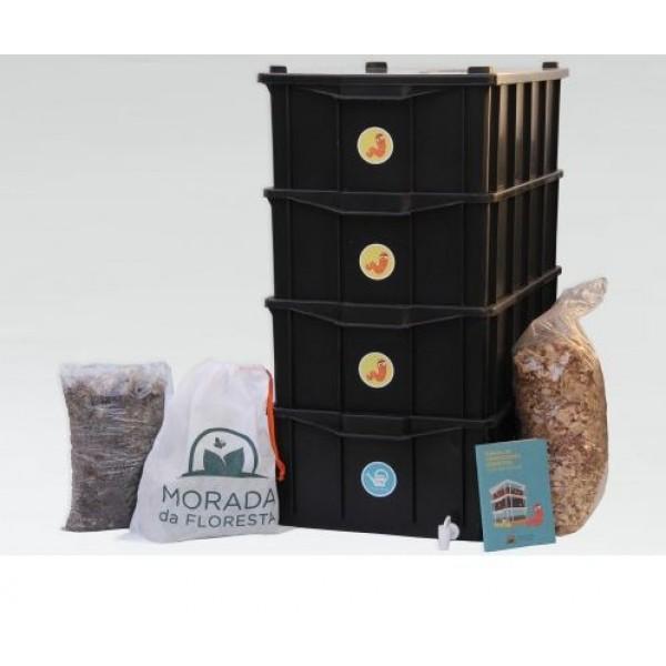 Composteira Doméstica Kit G4 + Minhocas Californianas - Preta