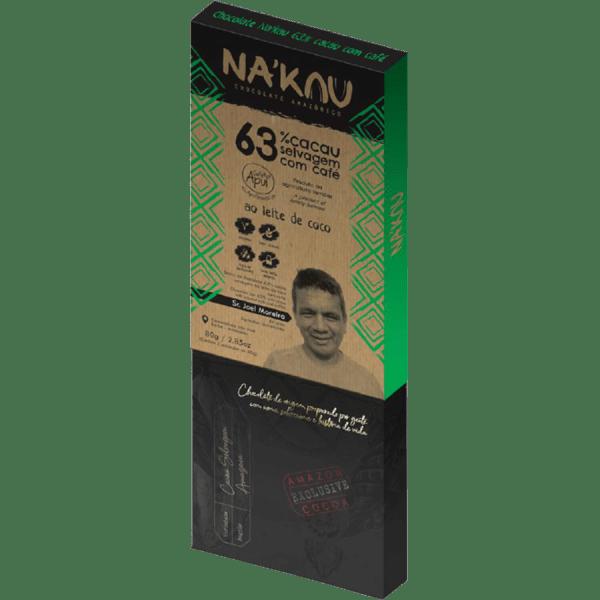 Chocolate 63% Cacau com Café Apuí 80g – Na'kau