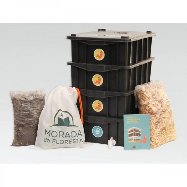 Composteira Doméstica Kit P4 + Minhocas Californianas - Colorida - Marrom
