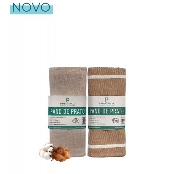 Conjunto Pano de Prato Orgânico Bege: Liso e Listrado Positiv.a