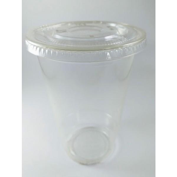 Copos de PLA - 400 ml tampa lisa com furo 50 uni Preserva Mundo