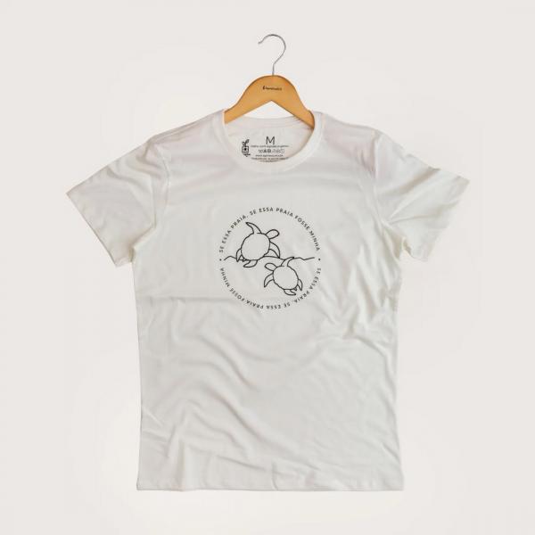 Camiseta Minha Praia - 100% Algodão Orgânico Off White Agora Sou Eco