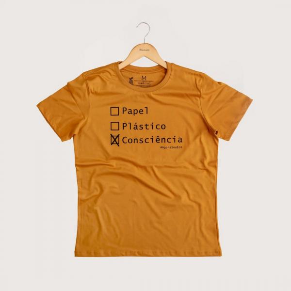 Camiseta Consciência - 100% Algodão Orgânico Mostarda Agora Sou Eco