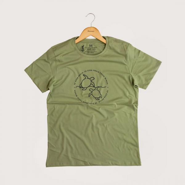 Camiseta Minha Praia - 100% Algodão Orgânico Verde Agora Sou Eco