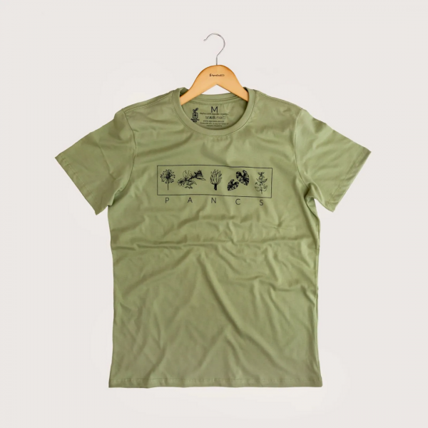 Camiseta Pancs - 100% Algodão Orgânico Verde Agora Sou Eco