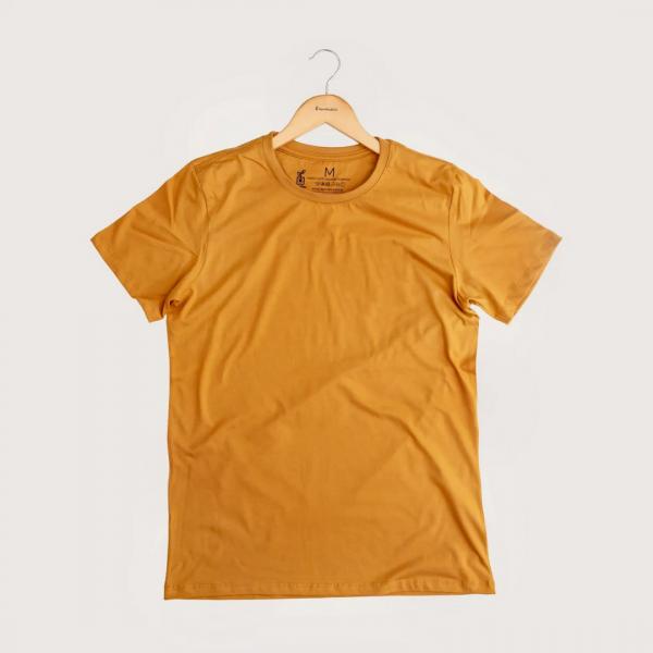 Camiseta Sem Estampa - 100% Algodão Orgânico Mostarda Agora Sou Eco