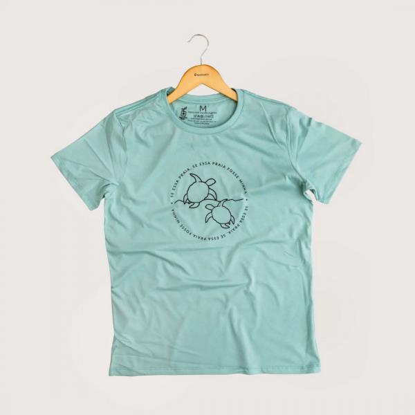 Camiseta Minha Praia - 100% Algodão Orgânico Azul Agora Sou Eco