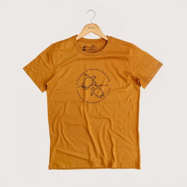 Camiseta Minha Praia - 100% Algodão Orgânico Mostarda Agora Sou Eco