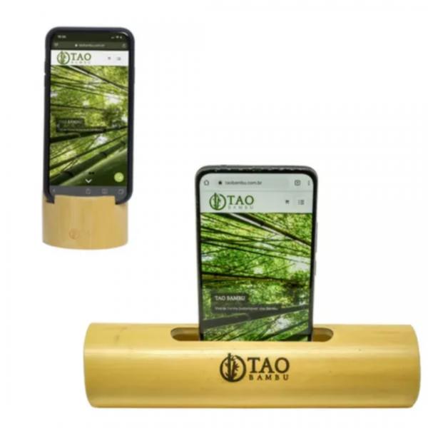 Kit Caixa de Som Rústica + Apoio de Celular - Tao Bambu