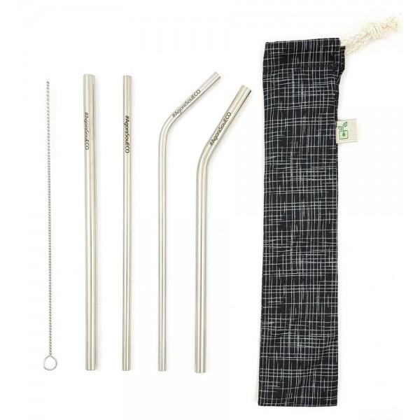 Kit 4 canudos inox + escova de limpeza + porta canudos