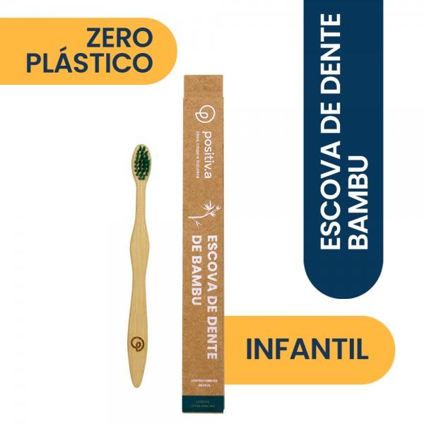 Escova de Dente de Bambu Infatil Verde Positiv.a