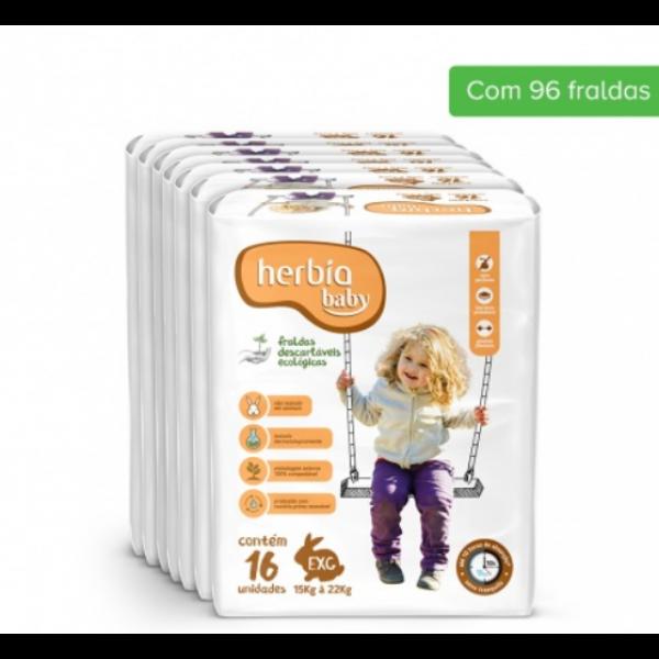 Fralda Ecológica Descartável EXG Herbia Baby Jumbo com 6 pacotes de 16 uni cada