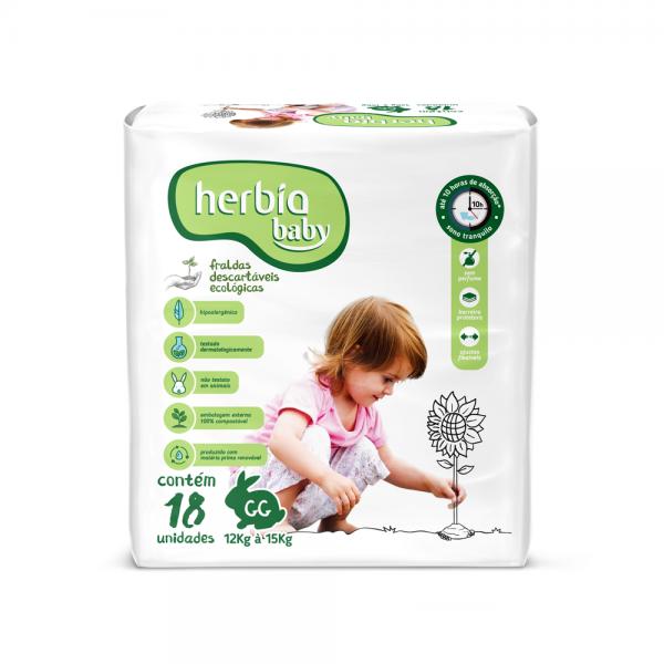 Fralda Ecológica Descartável GG - Kit Jumbo - 6 pacotes com 18 unid (Herbia Baby)