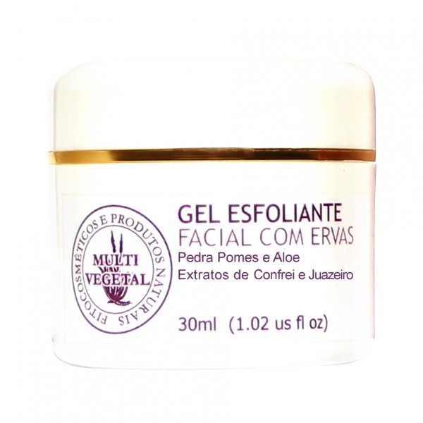 Gel Esfoliante Facial Vegano Multi Vegetal Com Ervas Medicinais 30ml