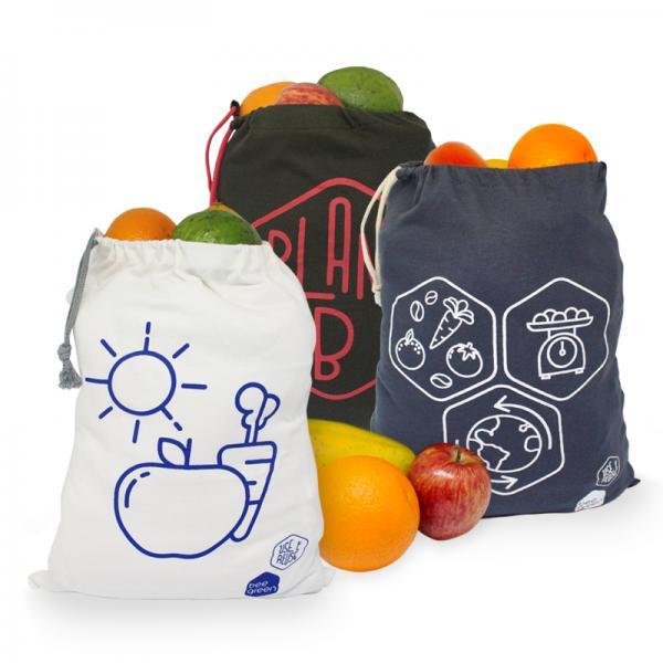 Kit de Sacos Ecológicos Reutilizáveis Grandes para Frutas e Vegetais