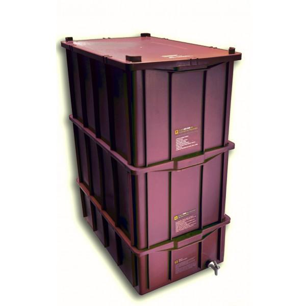 Composteira Doméstica Kit GG + Minhocas Californianas - Colorida - Marrom