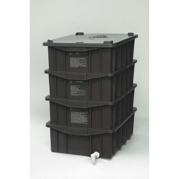 Composteira Doméstica Kit P4 + Minhocas Californianas - Preta
