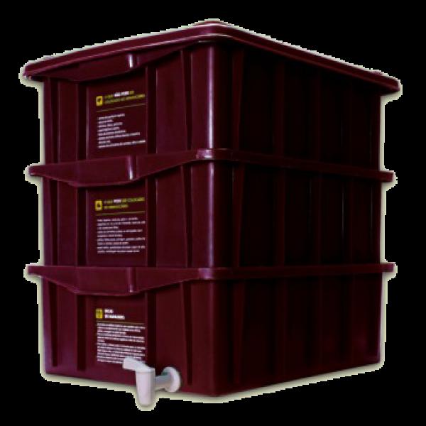 Composteira Doméstica Kit P + Minhocas Californianas - Colorida - Marrom