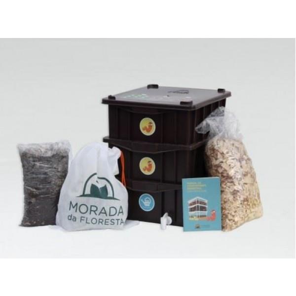 Composteira Doméstica Marrom KIT P + Minhocas Californianas - Morada da Floresta