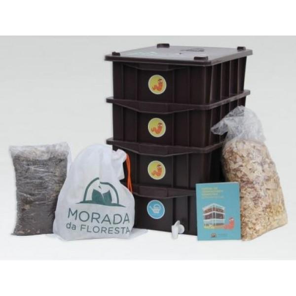 Composteira Doméstica Preta KIT P4 + Minhocas Californianas - Morada da Floresta