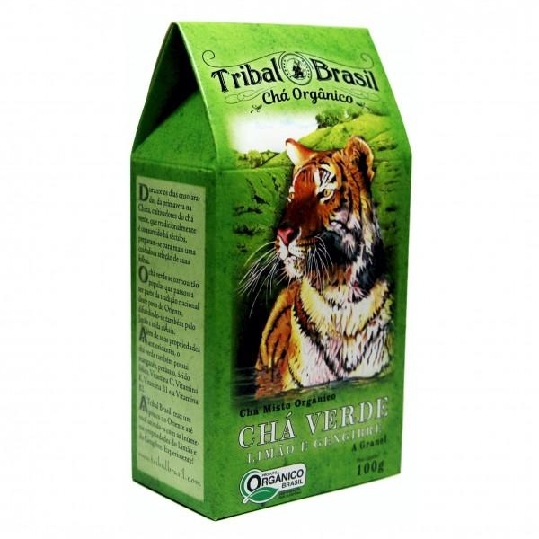 Chá Verde Tribal Brasil - Limão e Gengibre - Lata 100g