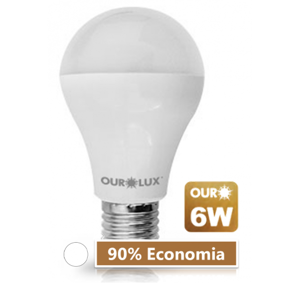 Lampada LED 6W 6500K Ourolux Branca - 90% de Economia