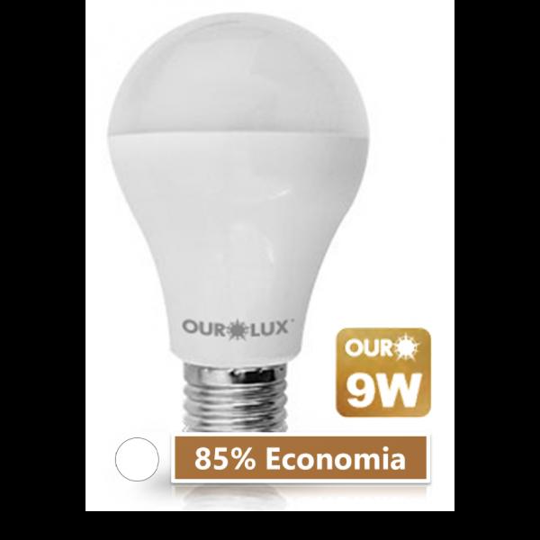 Lampada LED 9W 6500K Ourolux Branca - 85% de Economia