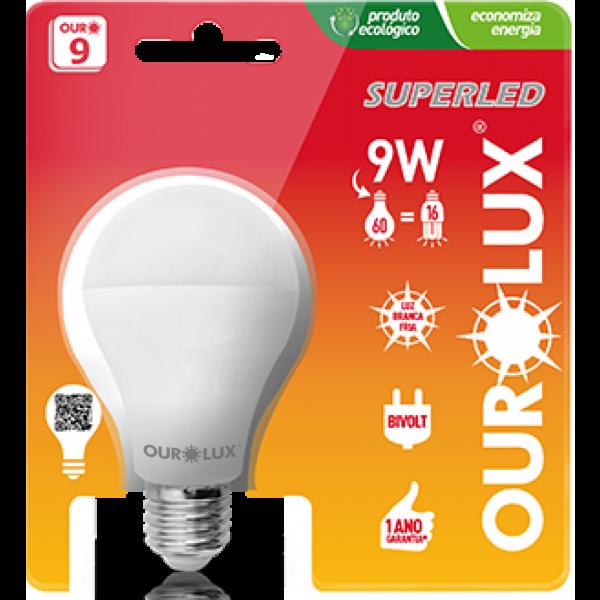 Lampada LED 9W 2700K Ourolux Amarela - 85% de Economia
