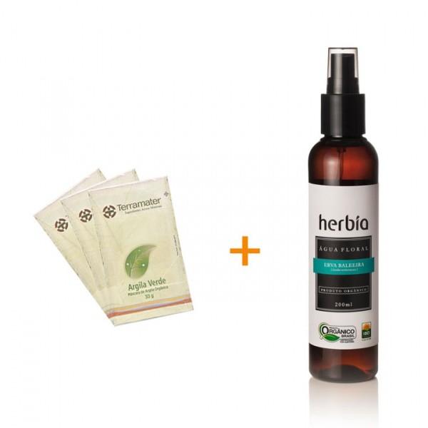 Argila verde + água floral antinflamatória