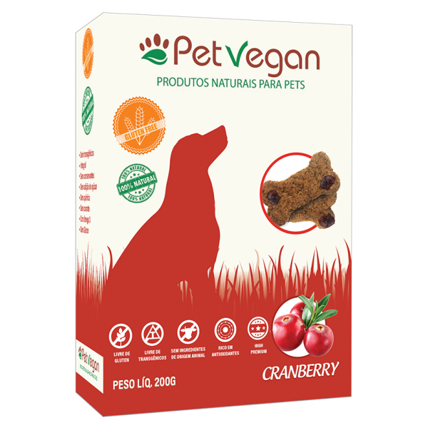 Biscoito Natural PetVegan - Cranberry, Sem Glúten