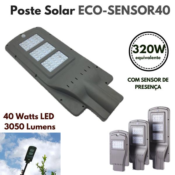 Poste Energia Solar LED com SENSOR-40