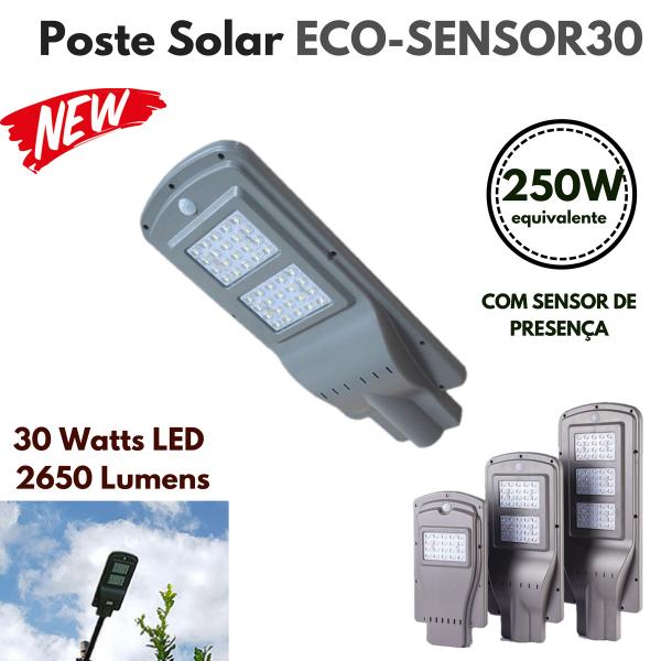 Poste Energia Solar LED com SENSOR-30