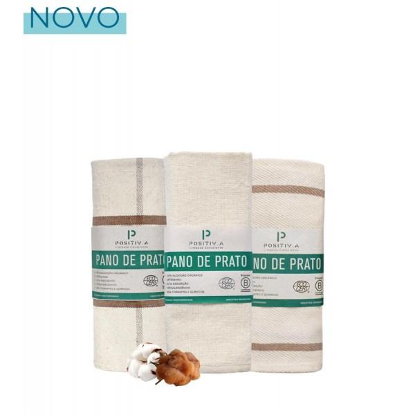Trio Pano de Prato Orgânico Natural: Liso, Listrado e Xadrez Positiv.a