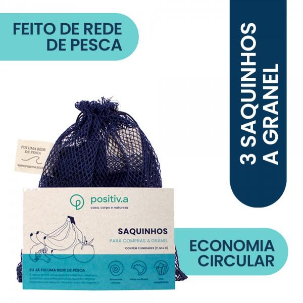 Trio de Saquinhos Granel Fui Uma Rede de Pesca – P/M/G Positiv.a