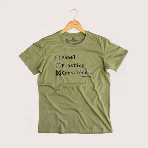 Camiseta Consciência - 100% Algodão Orgânico Verde Agora Sou Eco