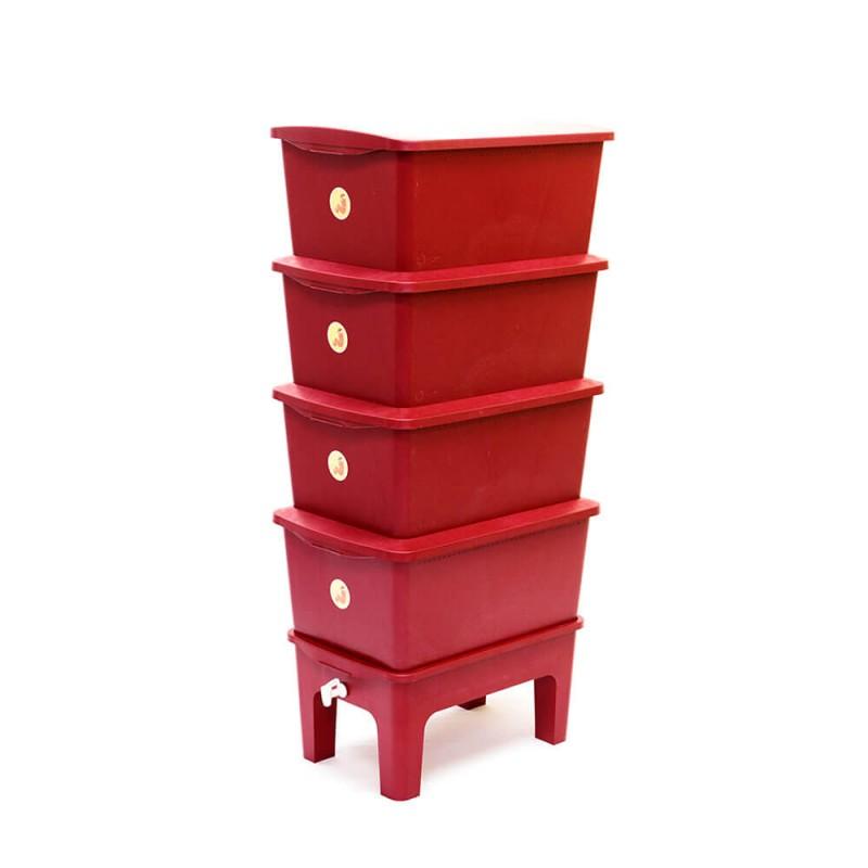 Composteira Doméstica Humi vermelha aberta